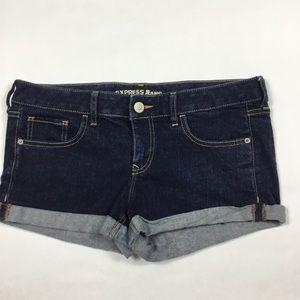 Express Dark Wash Cuffed Shorts Womens Size 8